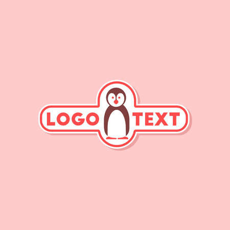paper sticker on stylish background of penguin logo