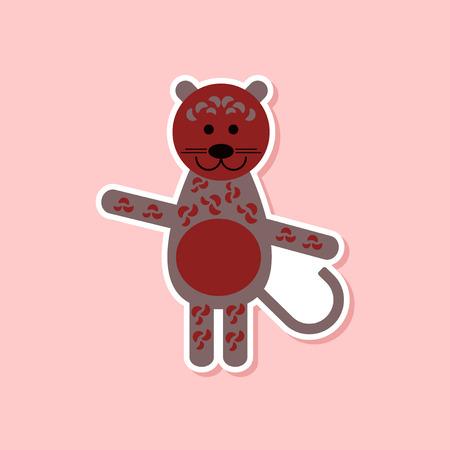 paper sticker on stylish background of cartoon leopard Çizim