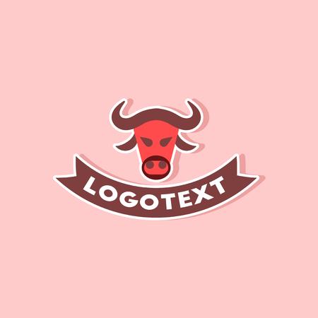 paper sticker on stylish background of bull logo
