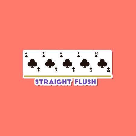 paper sticker on stylish background of poker straight flush