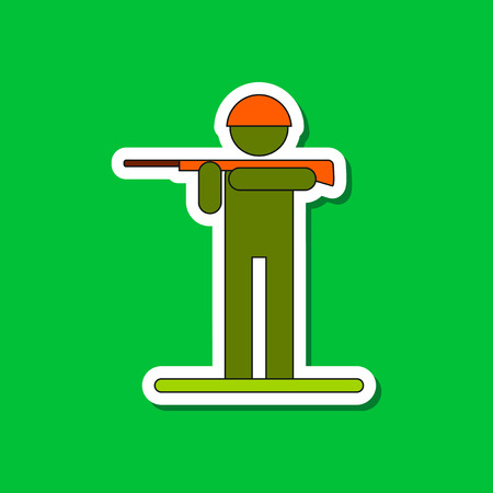 plastic soldier: paper sticker on stylish background of Kids military soldier
