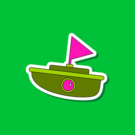 paper sticker on stylish background of Kids toy boat