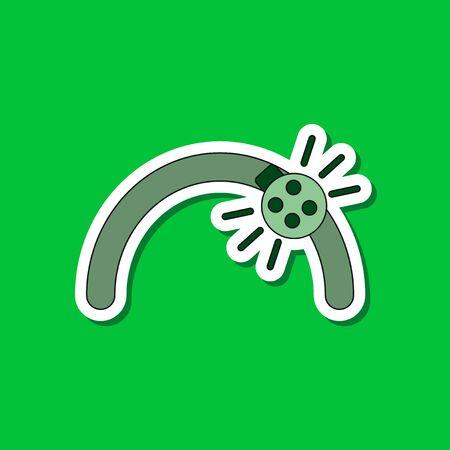 paper sticker on stylish background of Kids toy ladybug