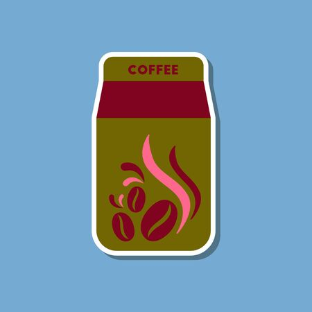 photorealistic: paper sticker on stylish background of coffee paper package Illustration