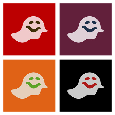 assembly flat icons Halloween ghost Illustration