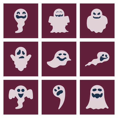 ghostly: assembly flat icons Halloween ghost Illustration