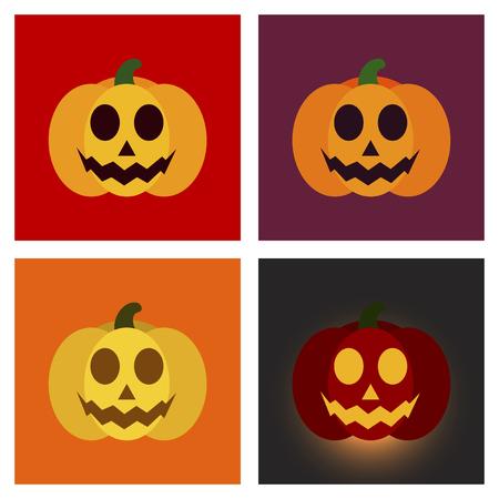 assembly flat icons halloween emotion pumpkin Иллюстрация