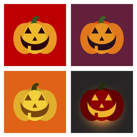 hole: assembly flat icons halloween emotion pumpkin Illustration