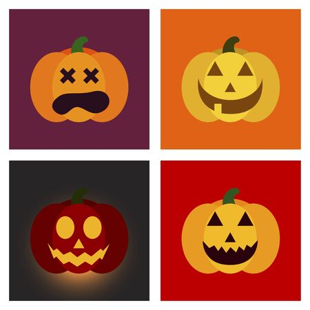 assembly flat icons halloween emotion pumpkin Illustration