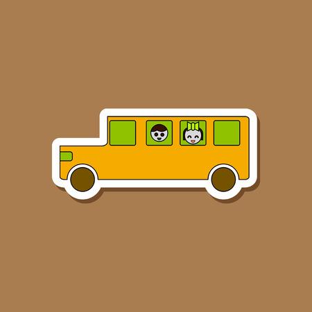 paper sticker on stylish background school bus