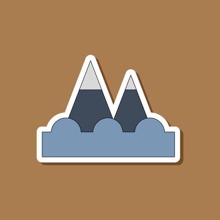 paper sticker on stylish background tsunami mountains