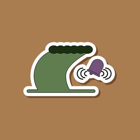 paper sticker on stylish background tsunami alarming bell