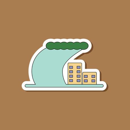 paper sticker on stylish background tsunami
