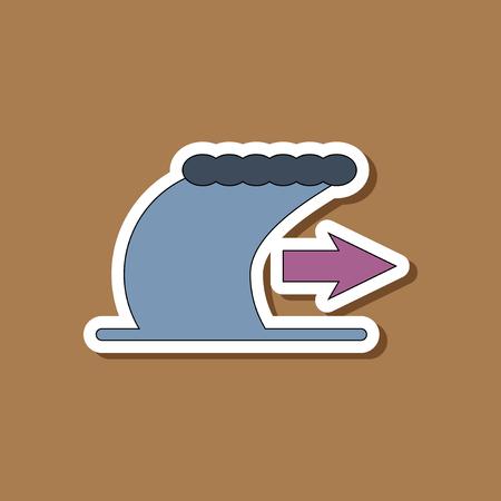 paper sticker on stylish background tsunami movement