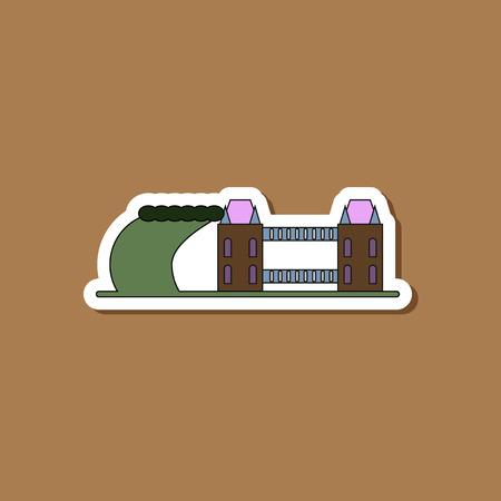 paper sticker on stylish background tsunami city Illustration