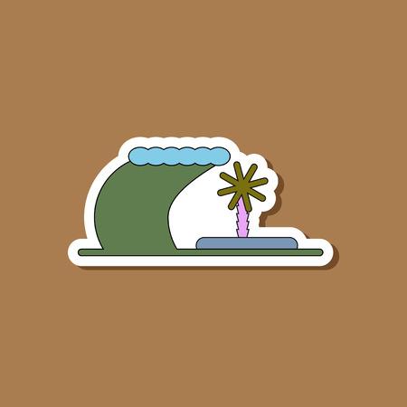 paper sticker on stylish background tsunami Island