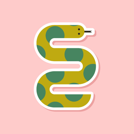 paper sticker on stylish background wildlife snake