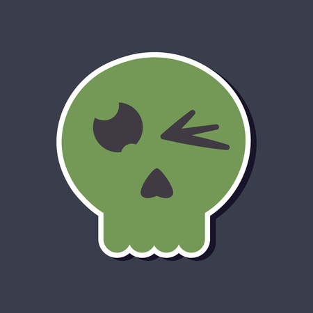 paranormal: paper sticker on stylish background halloween emotion skull