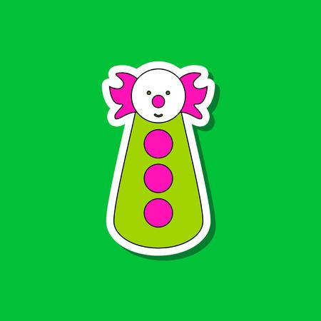 paper sticker on stylish background clown toy