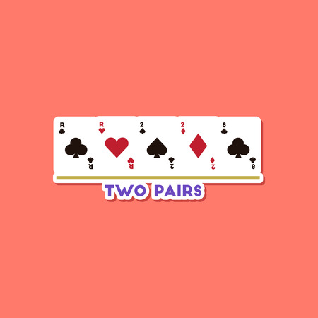 paper sticker on stylish background poker two pairs Illustration