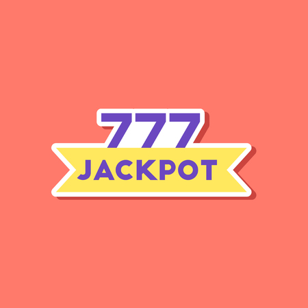 paper sticker on stylish background jackpot Lucky seven Иллюстрация