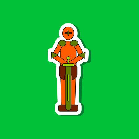 paper sticker on stylish background Kids toy child soldier Knight