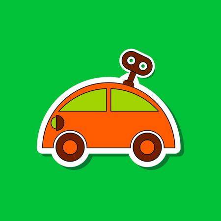 contoured: paper sticker on stylish background Kids toy car with key