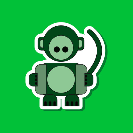 paper sticker on stylish background Kids toy monkey Illustration
