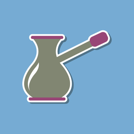 paper sticker on stylish background coffee turk