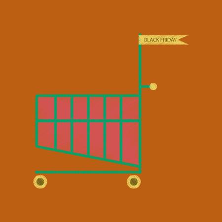 gift basket: flat shading style icon Shopping Cart black Friday