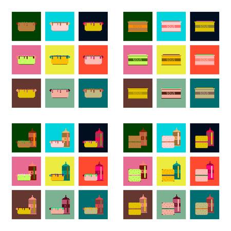hot dog: Set Pixel icons of fast food Illustration