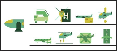 Set of icons in flat design for airport