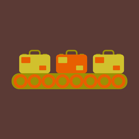 Icon in flat design for airport Baggage check