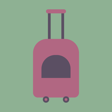 case: Icon in flat design for airport suitcase on wheels