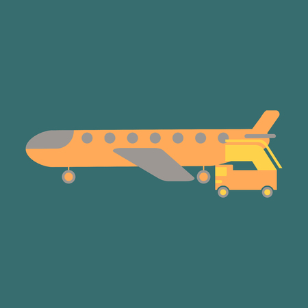 Icon in flat design for airport airplane gangway 向量圖像