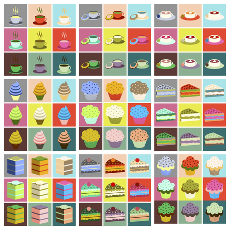 bakery products: Set icons in flat design desserts Illustration
