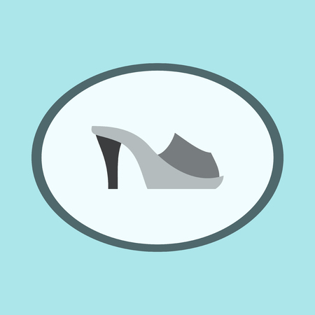 Icon in flat design fashion footwear Flip flops heels
