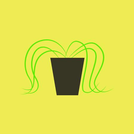 Icono en la planta de diseño plano en una maceta