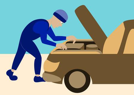 auto repair: Mechanic repairs car motor