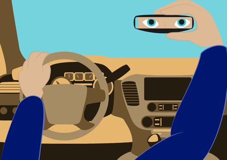 자동차의 드라이버는 리어 뷰 미러에서 찾습니다. 내부 차의 벡터 일러스트 레이 션. 자동차의 운전석 일러스트