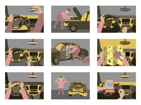 Set of illustrations car from inside. Illustration