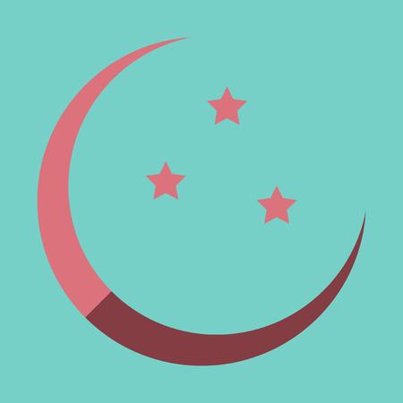 Icon in a flat style Ramadan moon and stars