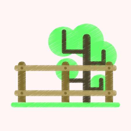 Flat Icon in Shading Style Fenced tree