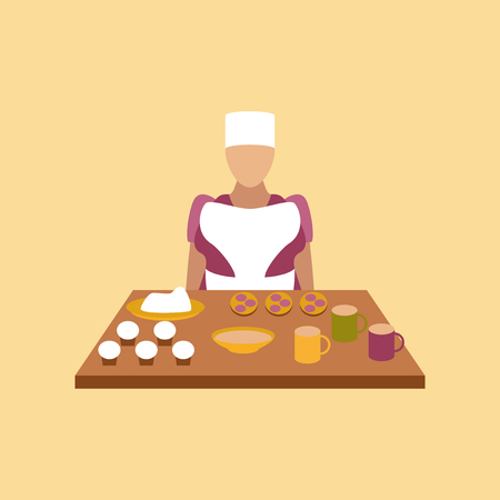 school cafeteria: flat icon on stylish background education school cook