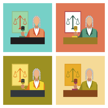 civil rights: assembly flat icons education law jurisdiction judge