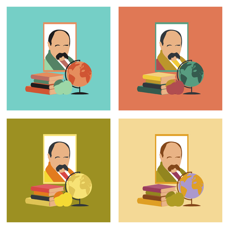 assembly flat icons Ukrainian literature lesson Illustration