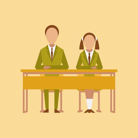 flat icon on stylish background pupils at school desk