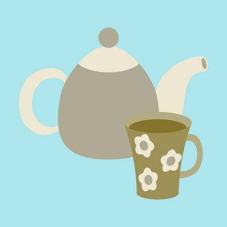 Icon in flat design for restaurant Tea kettle and cup