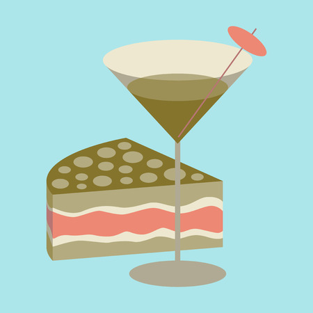 Icon in flat design for restaurant Cocktail and cake