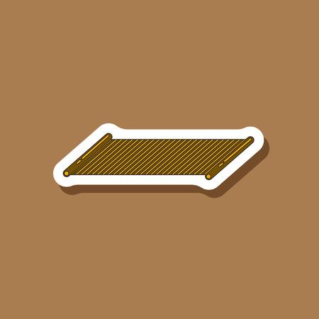 Paper sticker on stylish background Mat for fitness Illustration